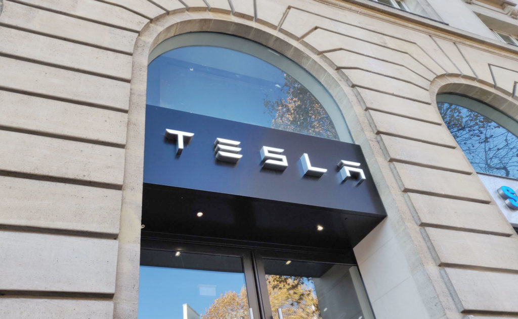 Store front of the Tesla Showroom in Paris France