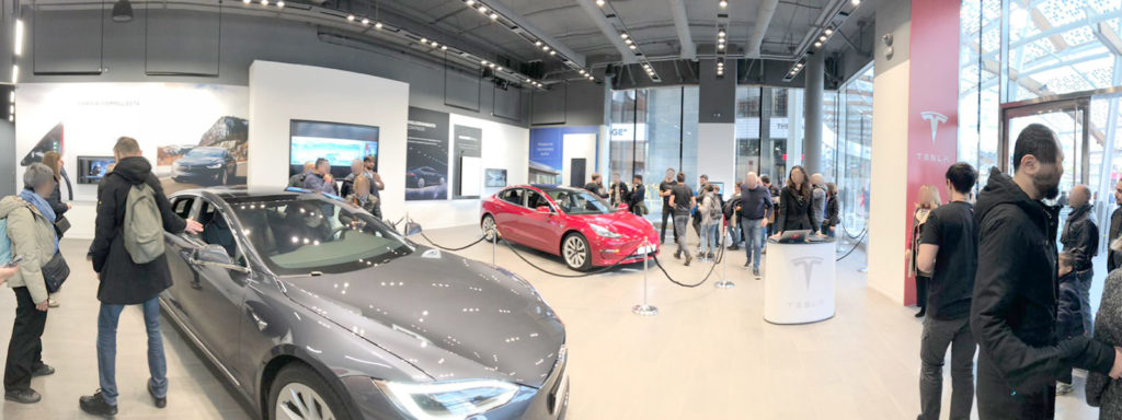Tesla Model 3 Europe display at the Tesla Store in Milan, Italy