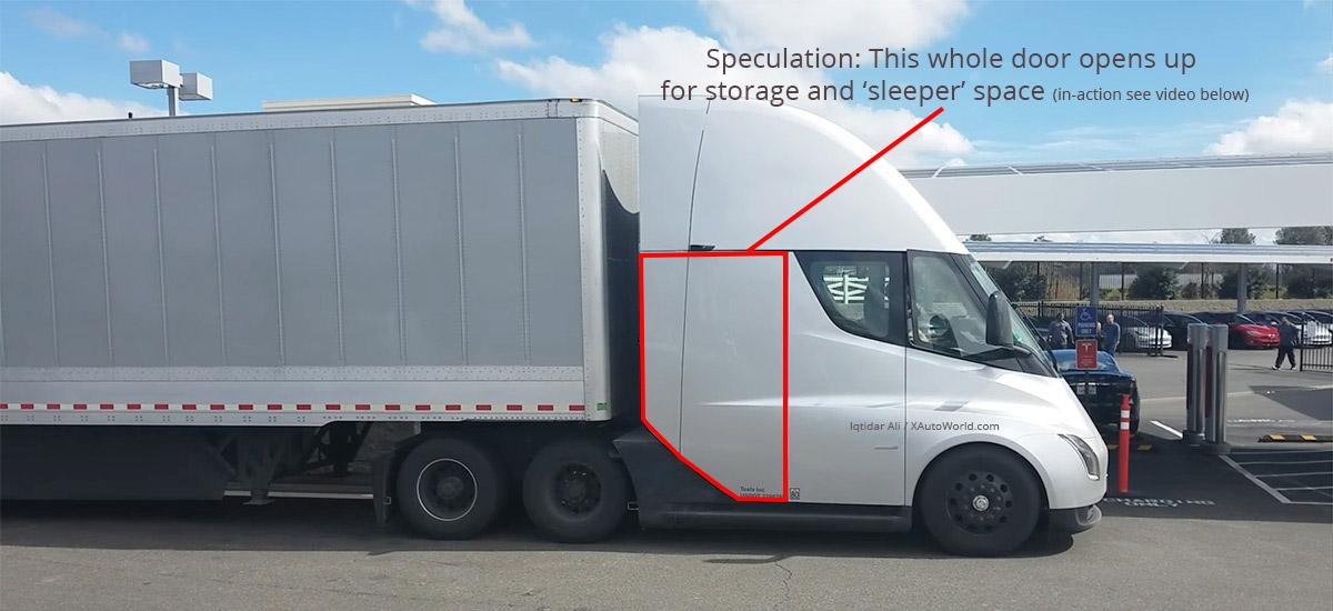 Tesla Semi Truck rear door for storage and sleeper cabin, door in action video below