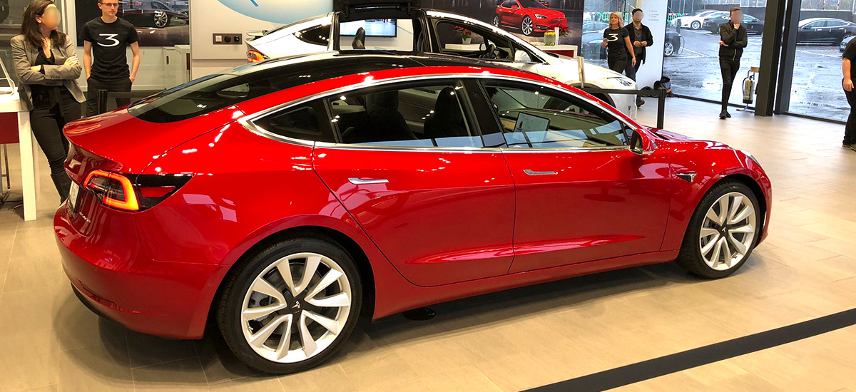 Tesla Model 3 on display in London, UK at the Park Royal #Tesla showroom