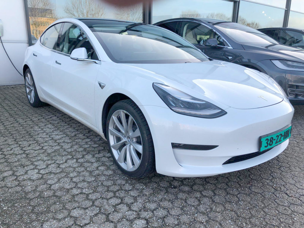 Tesla Model 3 charging with CCS charge port in Netherlands, Europe.