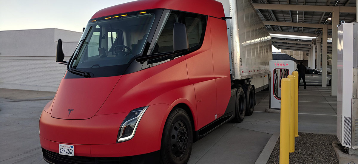 Red Tesla Semi Truck at Kettleman City Supercharger