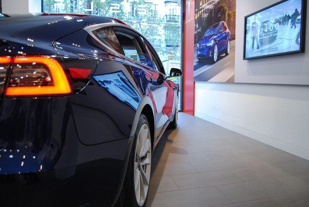 Blue Tesla Model 3 in Madrid, Spain - Rear Closeup