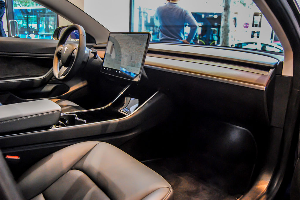 Blue Tesla Model 3 in Madrid, Spain - Interior Shot
