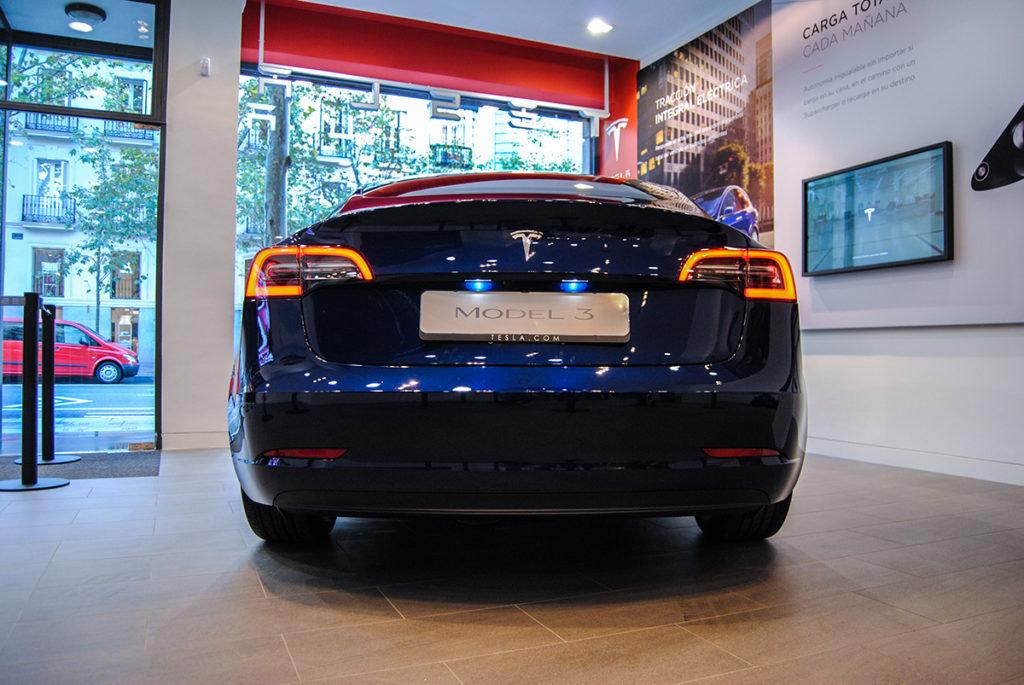 Blue Tesla Model 3 in Madrid, Spain - Rear View