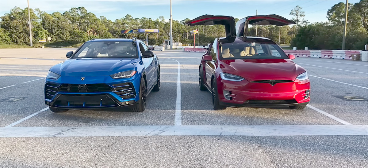 Tesla Model X P100D vs. Lamborghini Urus drag race battle