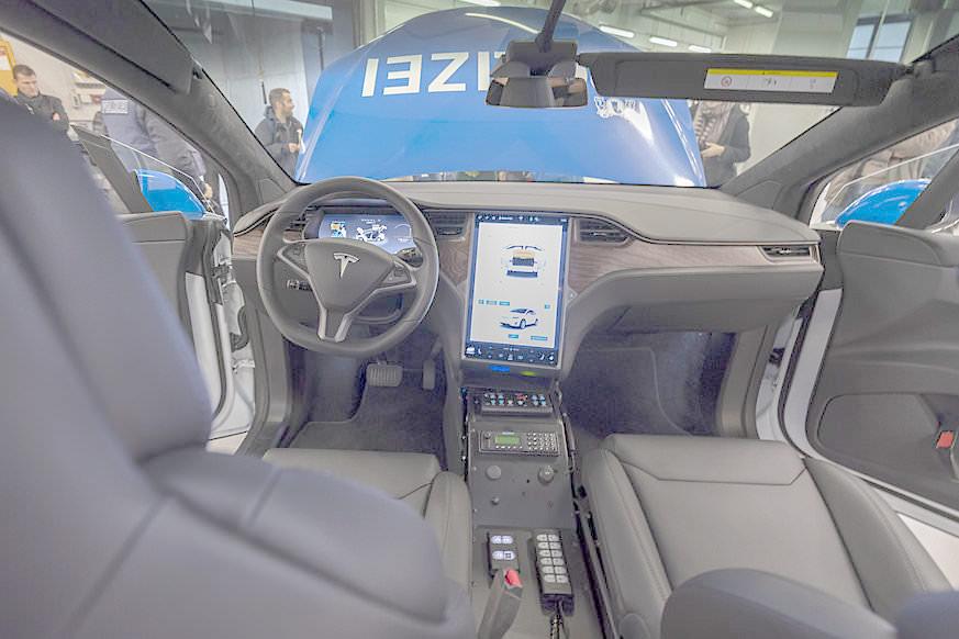 Basel City Police's Tesla Model X 100D - Modified Interior as Police Patrol Car
