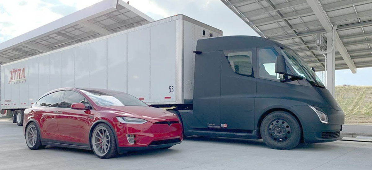 Black Tesla Semi Supercharging at Kettleman