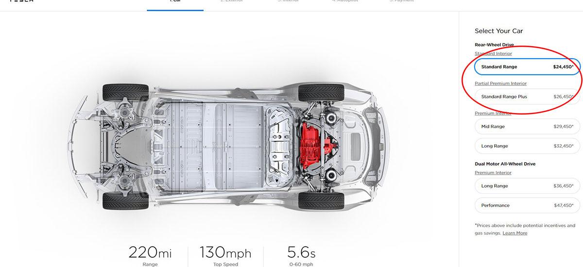 Tesla Model 3 Standard variant is here