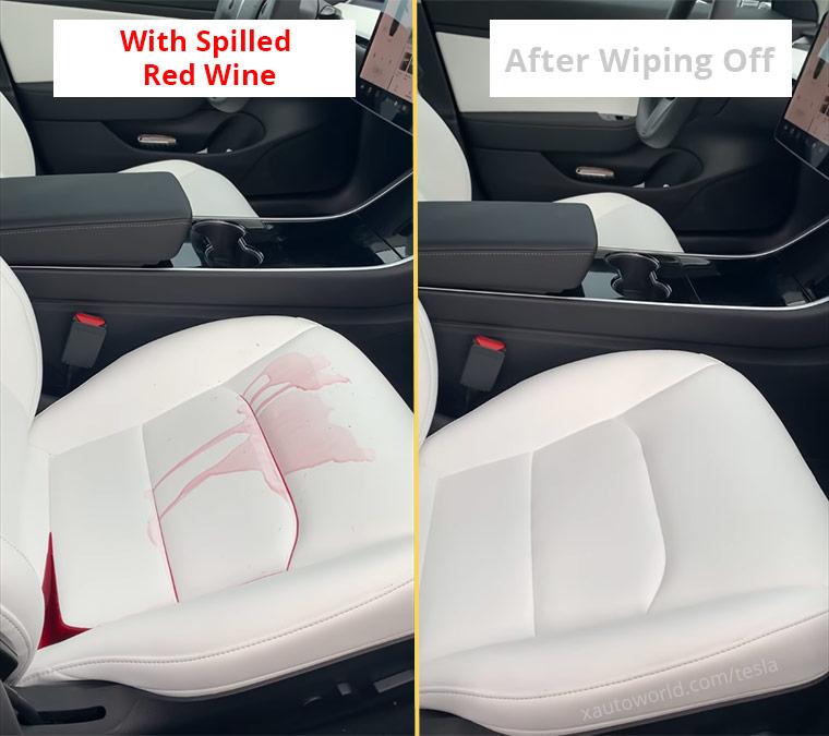 Tesla Model 3 White Seats Stain Resistance Challenge
