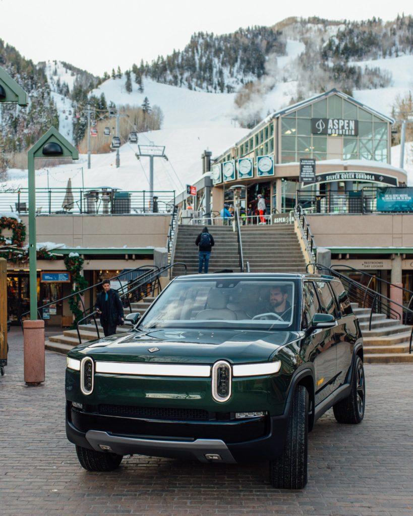 Rivian R1S SUV on display at the Aspen Ski Resort