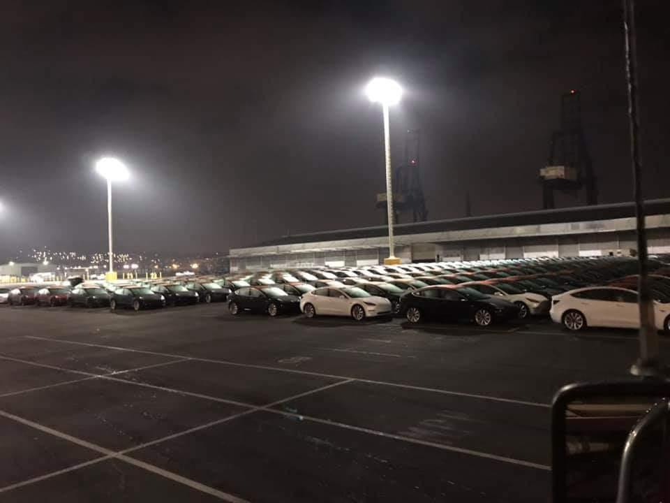 Tesla Model 3 fleet at Port Of San Francisco waiting to board Glovis Captain vehicle transport vessel.