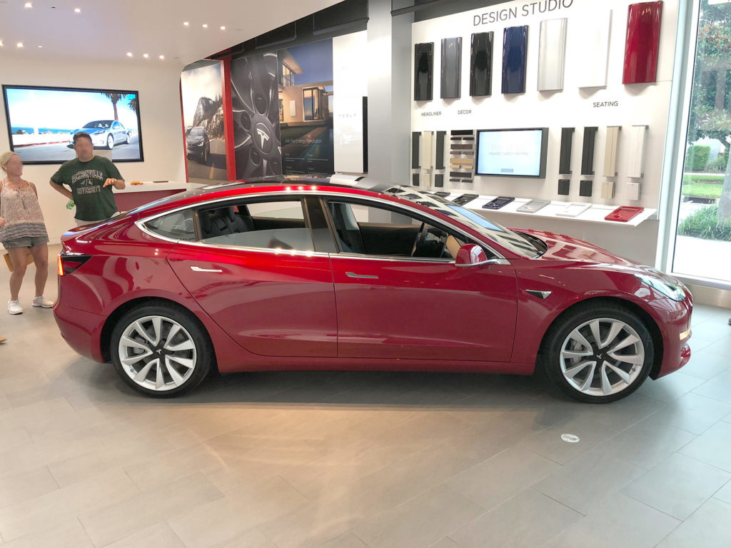 Tesla Model 3 at the Jacksonvlle, FL Tesla Store ready for delivery - Side View Profile