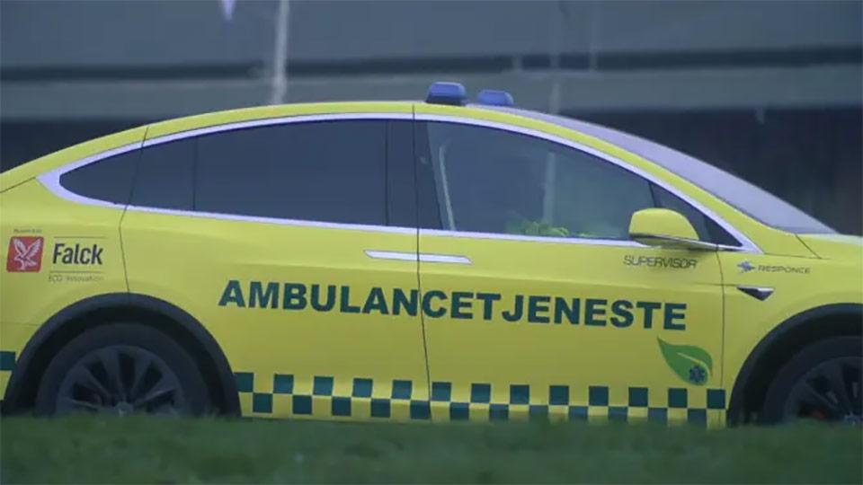 Tesla Model X ambulance from Denmark by Falck - Side View