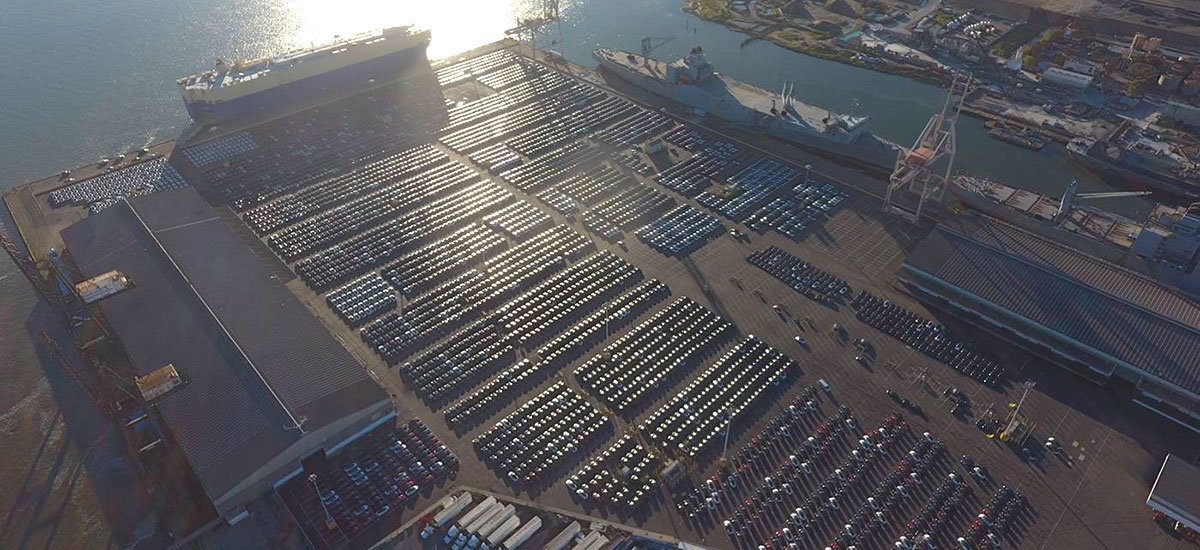 4000 Tesla electric vehicles at the San Francisco port waiting to be shipped to Europe.
