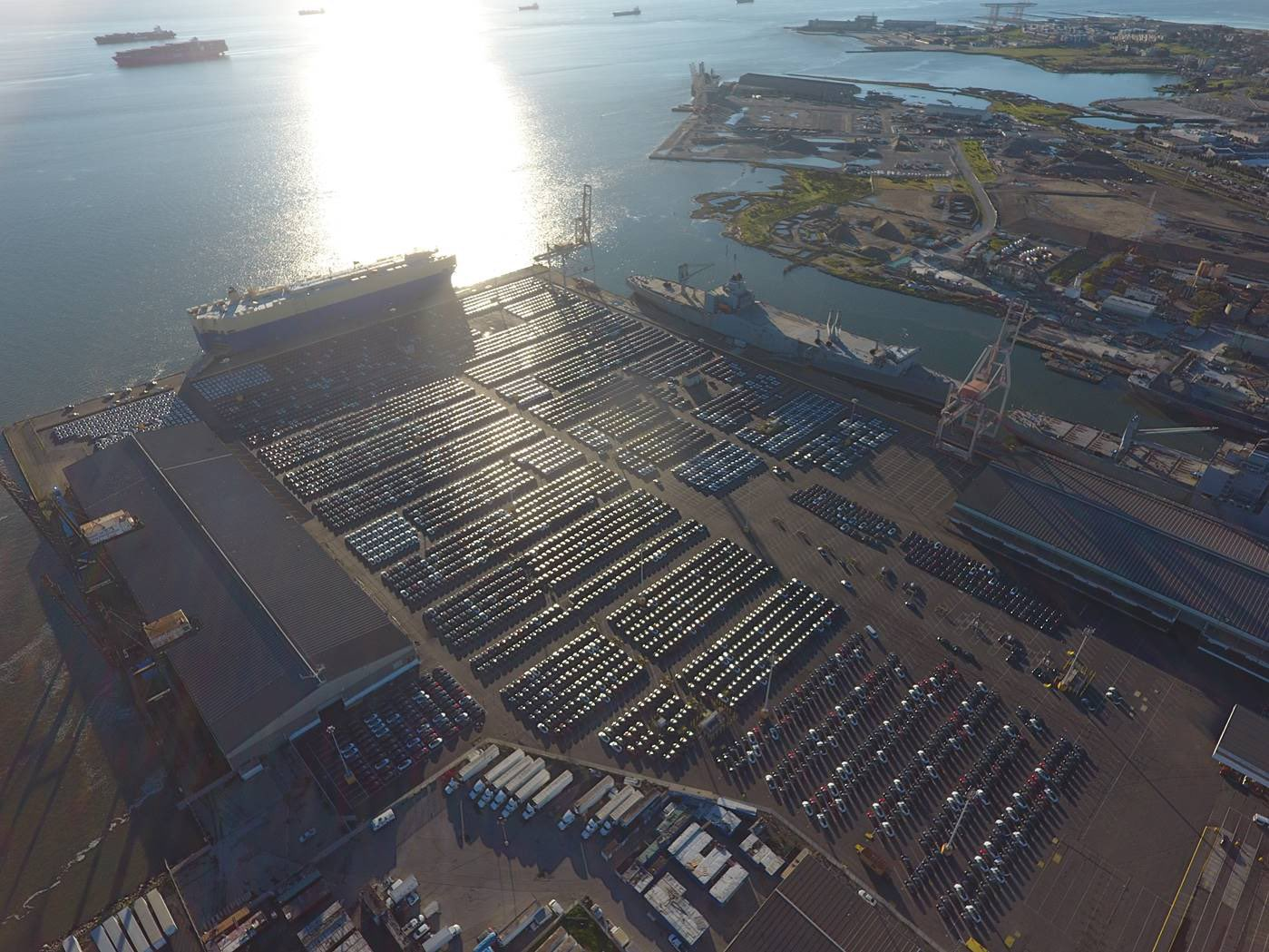 4,000 Tesla electric vehicles waiting at the San Francisco port to be shipped to Europe.
