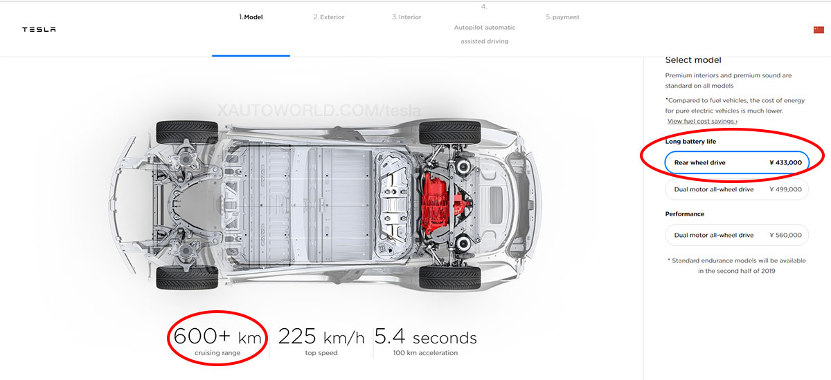 Tesla Model 3 Rear Wheel Drive offered in China