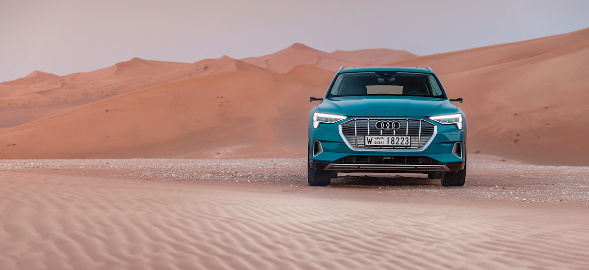 The Audi e-tron at Masdar City. Audi e-tron review by fullycharged