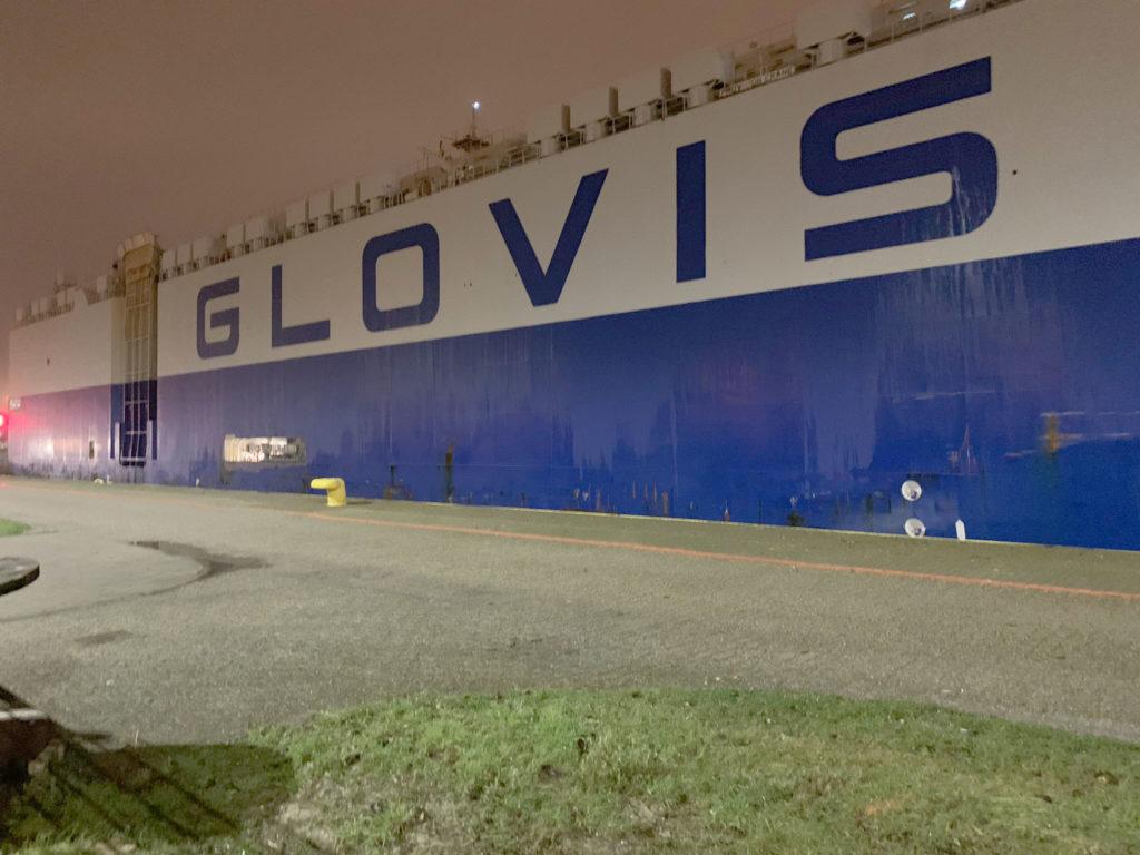 Glovis Captain at Port of Zeebrugge, Belgium, carrying Tesla Model 3 Europe