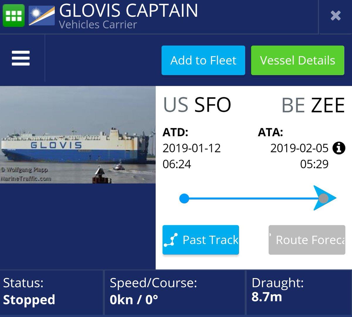 Glovis Captain reaches Port of Zeebrugge, Belgium carrying Tesla Model 3 EVs
