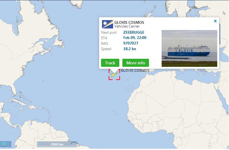 Glovis Cosmos (vehicle carrier vessel) tracking map screenshot - heading for Port of Zeebrugge, Belgium