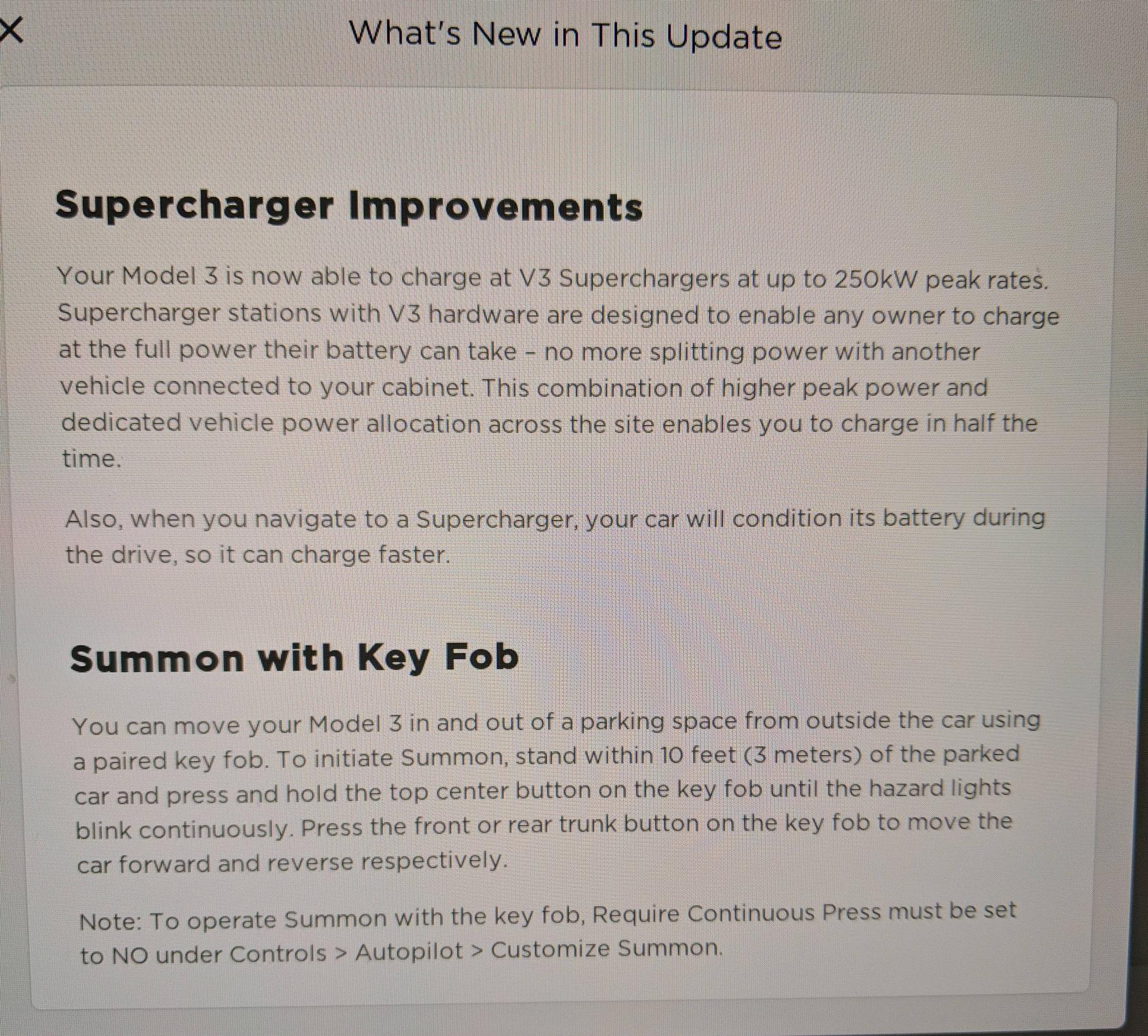 2019.7.11 release notes for Tesla Model 3 (Mar, 2019)