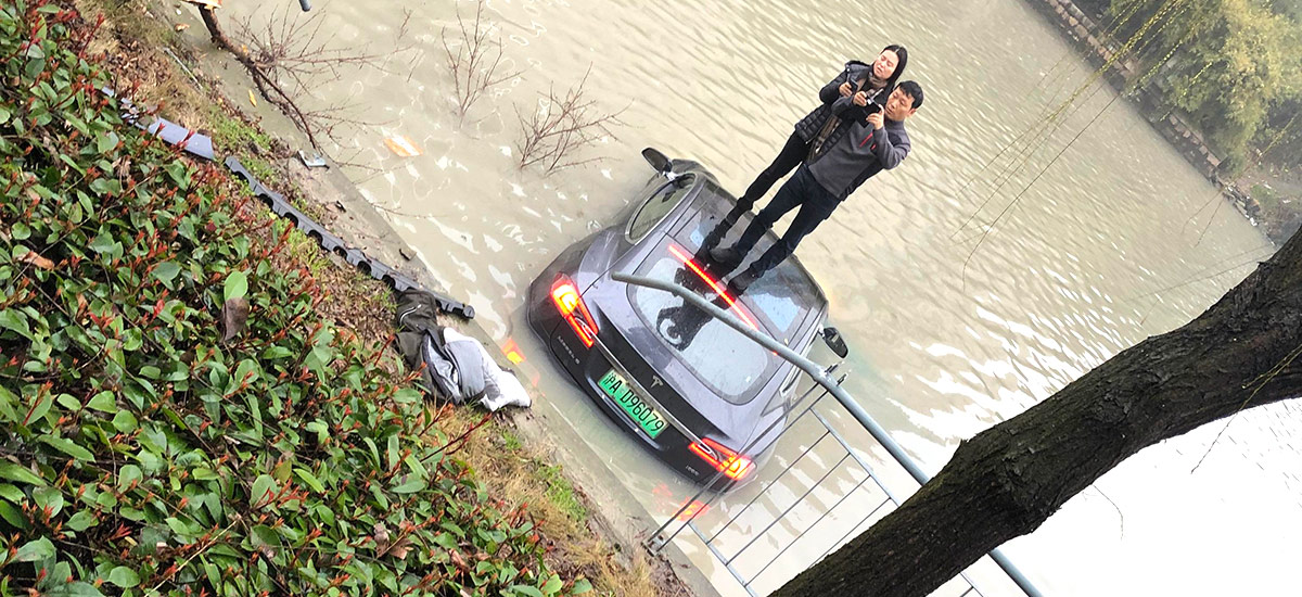 Tesla Model S runs into the river in China