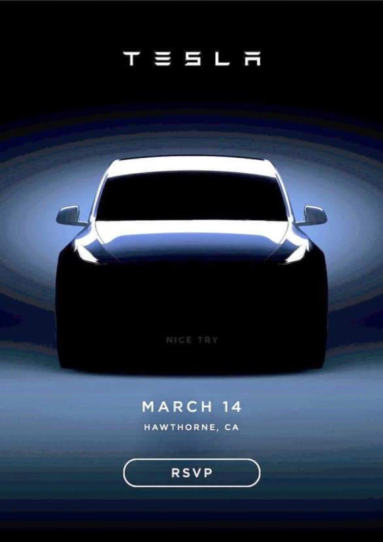 Tesla Model Y unveil event invitation email (Mar 14th)