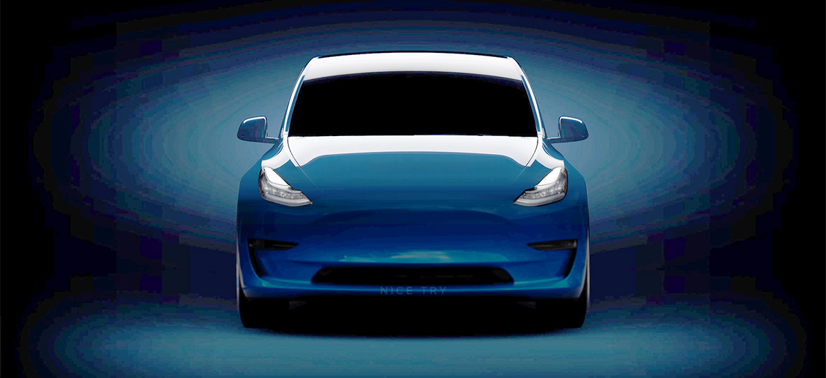 Tesla Model Y teaser filled to show what it might look like