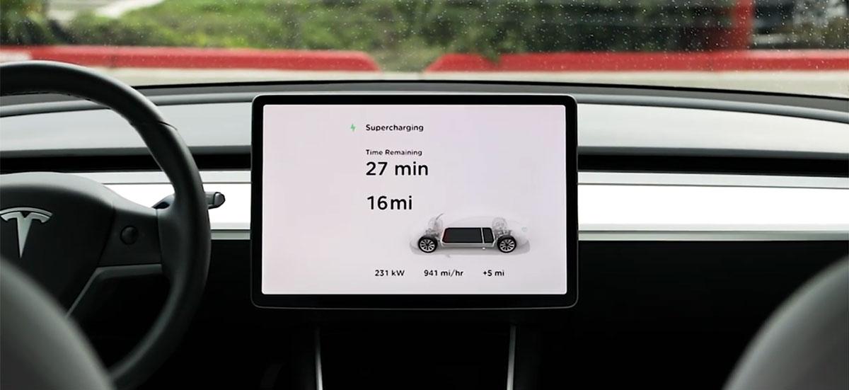 Tesla Model 3 charging via Supercharger V3
