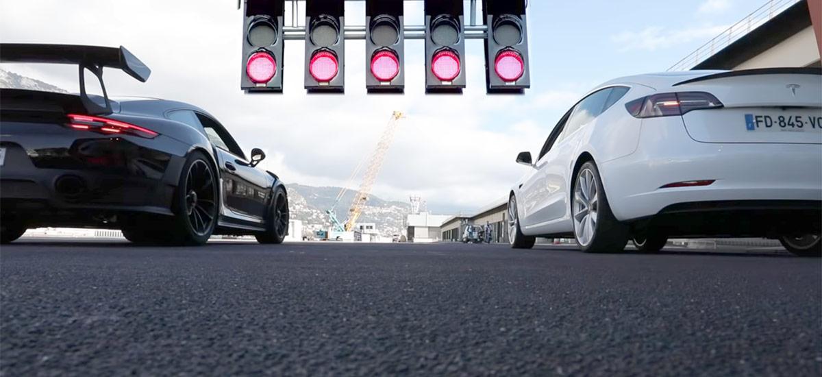 Tesla Model 3 Performance vs. Porsche GT2 RS drag race.