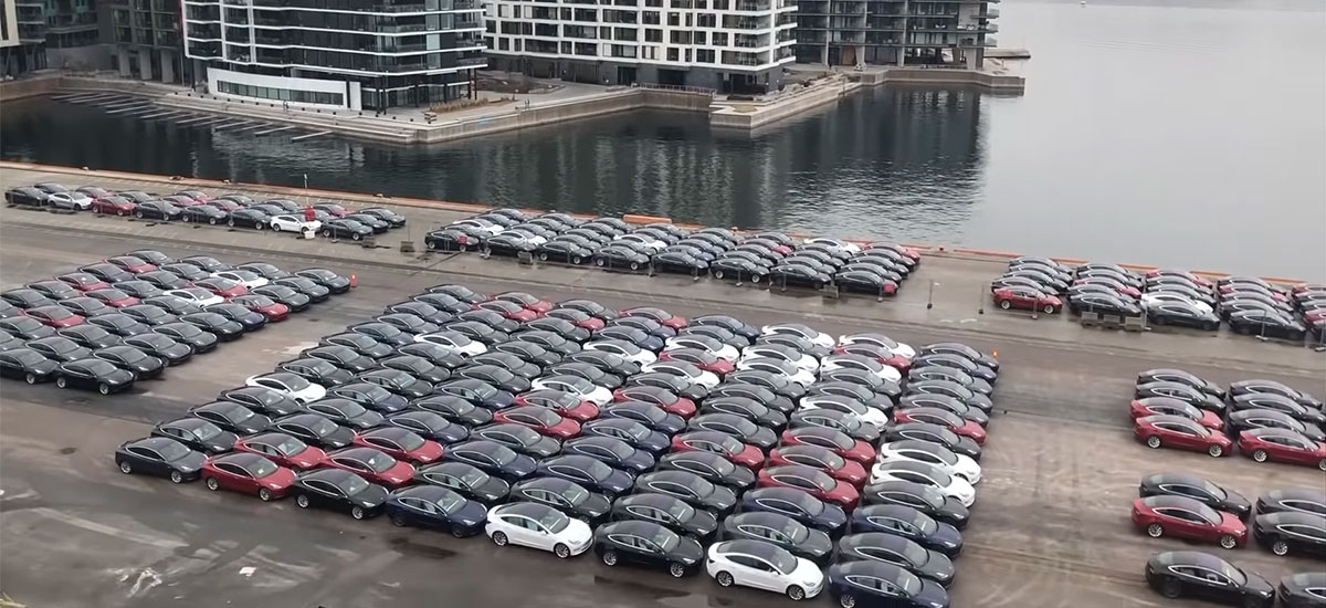 Shipment of Tesla Model 3 electric vehicles unload at the Port of Oslo, Norway.