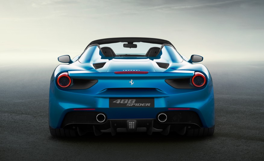 2016 Blue Ferrari 488 Spider Rear View