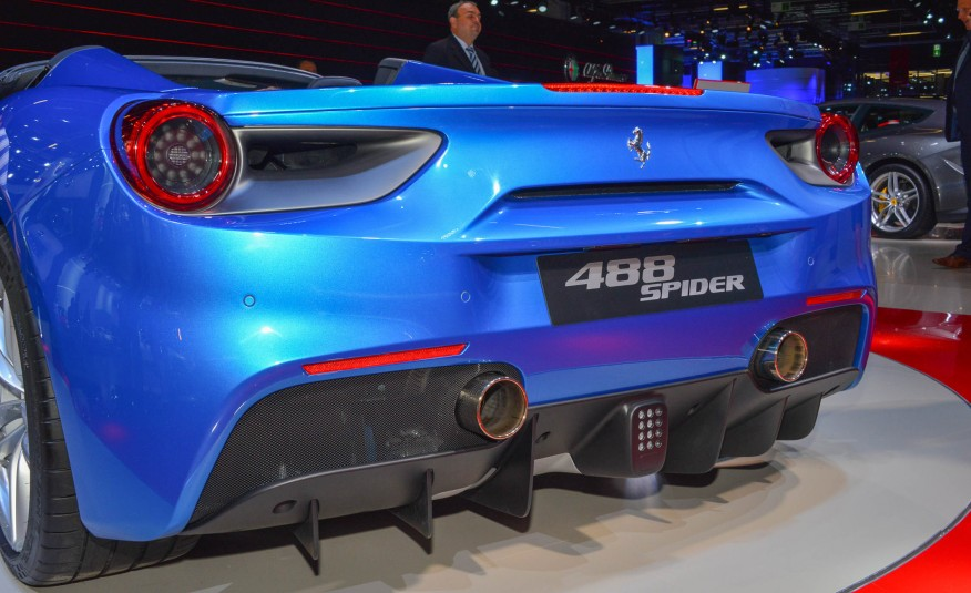 2016 Blue Ferrari 488 Spider Bottom Rear View