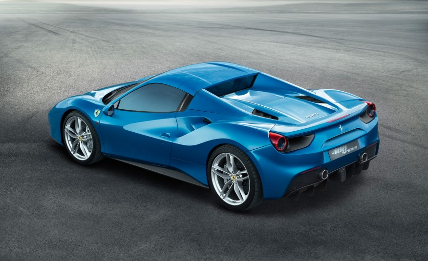 2016 Blue Ferrari 488 Spider Side Rear View