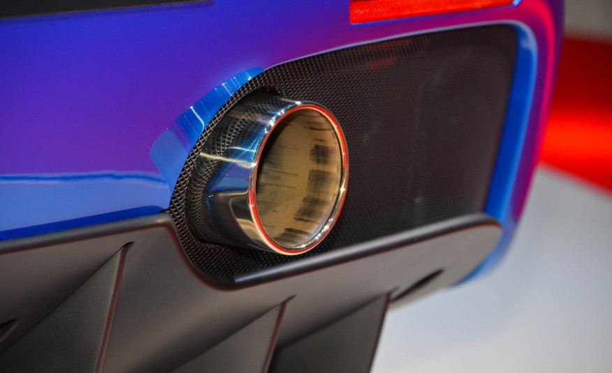 2016 Blue Ferrari 488 Spider Exhaust Tip Closeup