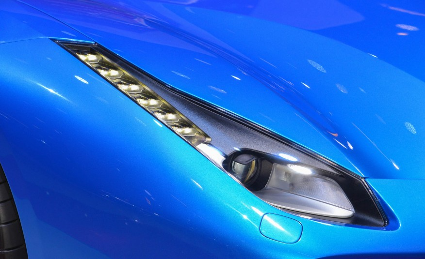 2016 Blue Ferrari 488 Spider Headlamp Closeup