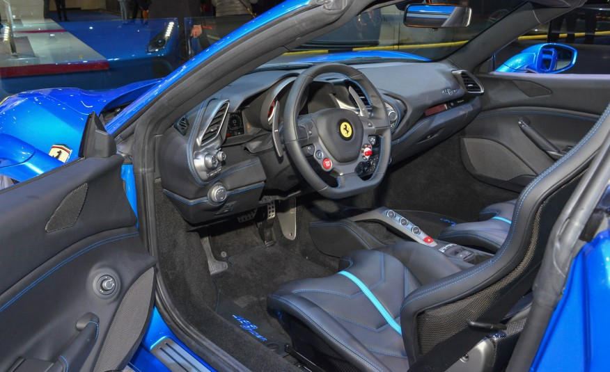2016 Blue Ferrari 488 Spider Interior Sideview