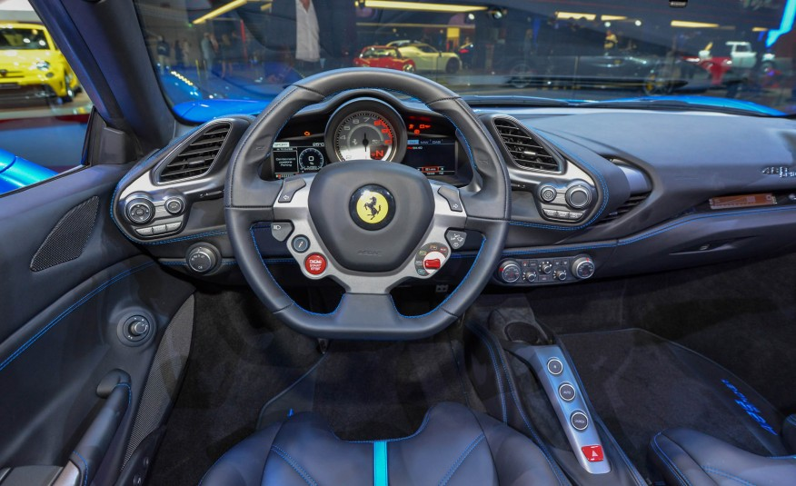 2016 Blue Ferrari 488 Spider Interior Front View Steering & Dash