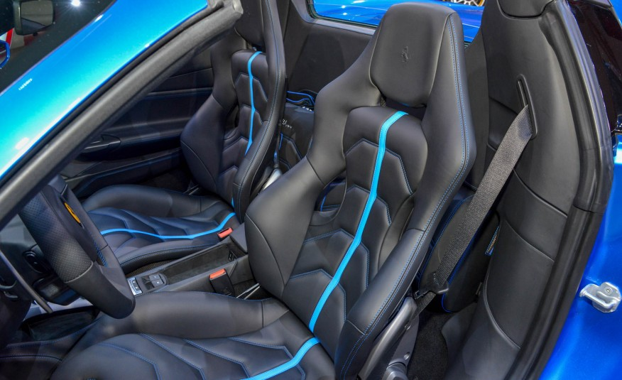 2016 Blue Ferrari 488 Spider Interior Front Seats