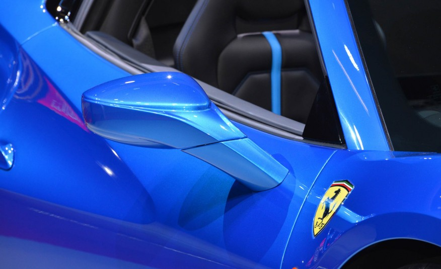 2016 Blue Ferrari 488 Spider Side Mirror Closeup