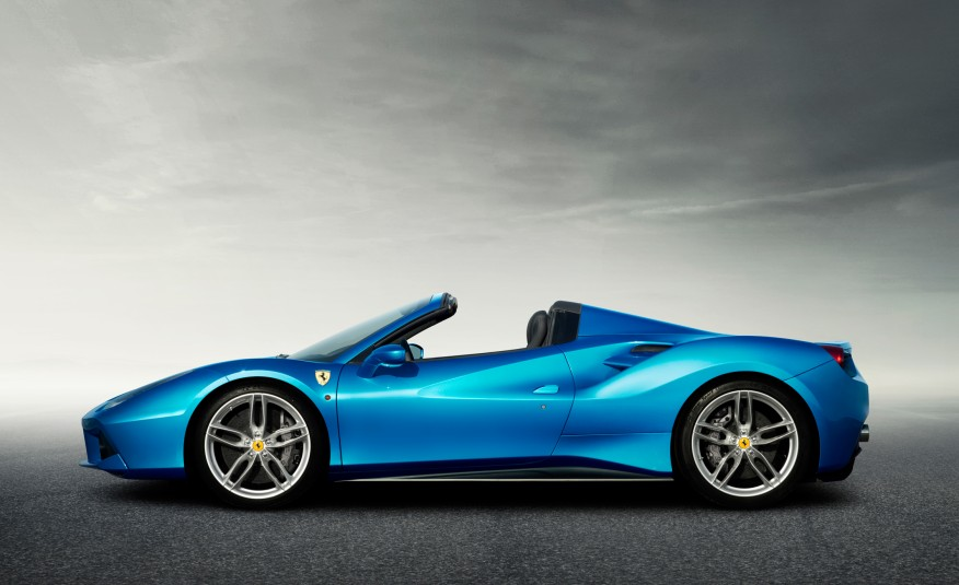 2016 Blue Ferrari 488 Spider Side View