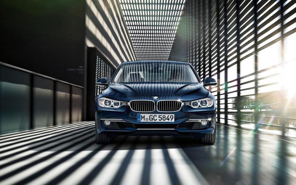 BMW 3 Series In Dark Blue Front View Wallpaper