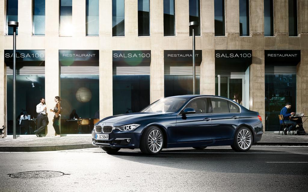 BMW 3 Series In Dark Blue Side View Wallpaper