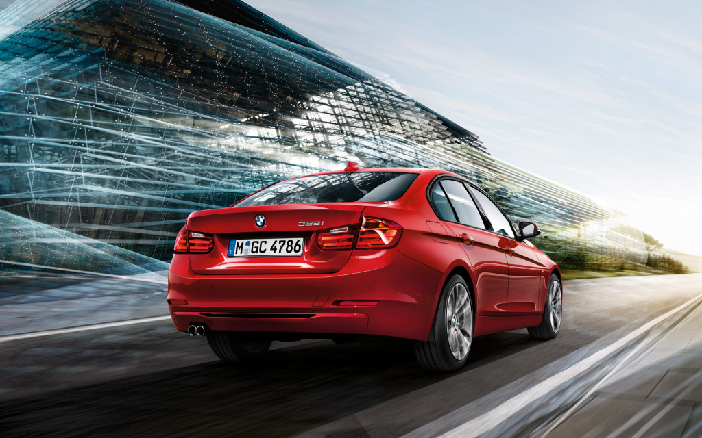 BMW 3 Series In Red Rear View Wallpaper