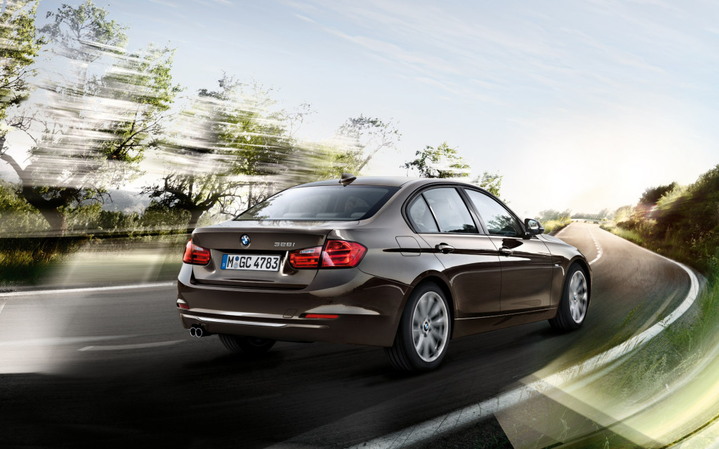 BMW 3 Series In Brownish Gray Rear View Wallpaper