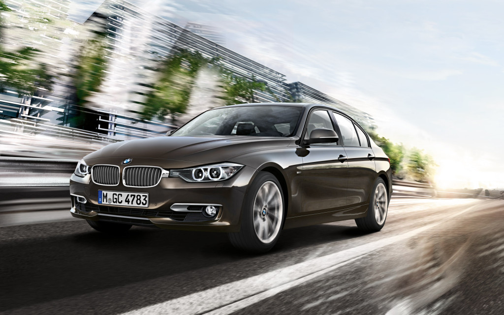BMW 3 Series In Brownish Gray Front View Wallpaper