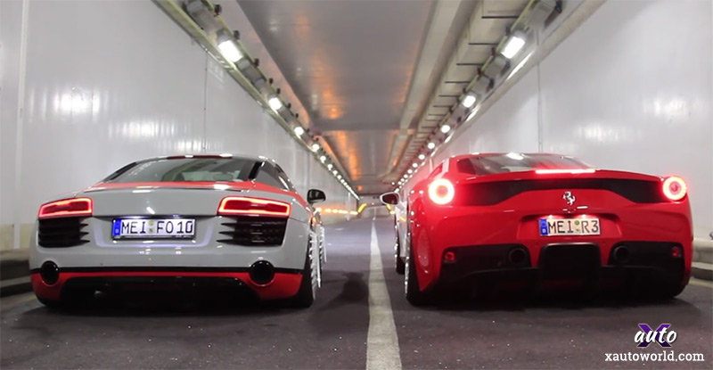 Ferrari 458 Speciale vs Audi R8