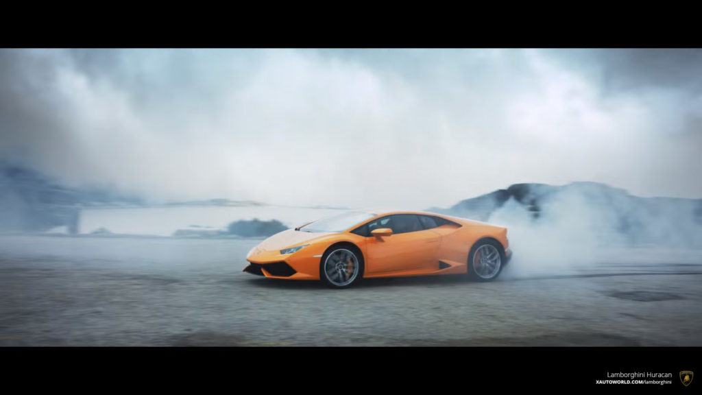 Orange Huracan Coupe Drifting Hard