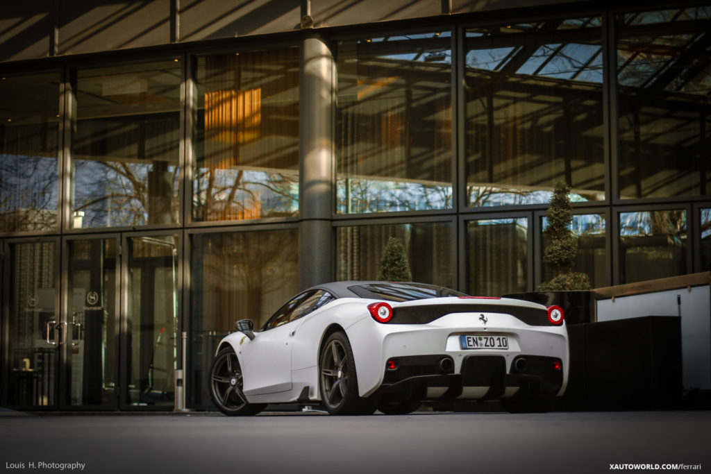 Ferrari 458 Speciale White Rear View